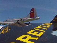 'Jetman' Rossy flies with B17 bomber aircraft [VIDEO]